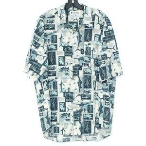 Columbia Button Front Fish Shirt Mens XL B1